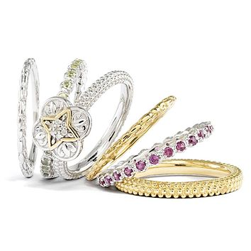 Sterling Silver & 14K Gold Plated Diamond Ornate Stackable Ring Set