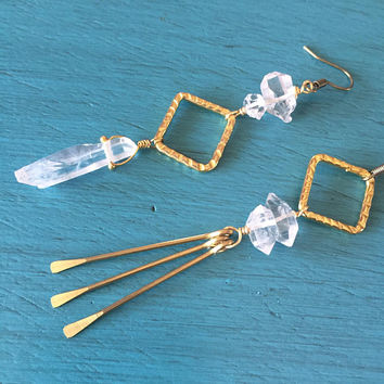 Asymmetric Quartz Crystal Earrings With Herkimer Diamond Hammered Brass Drop Mismatched Long Dangle Chandelier Asymmetrical Boho Jewelry
