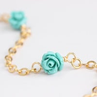 Beautiful Eyeglass Chains with Turquoise Roses