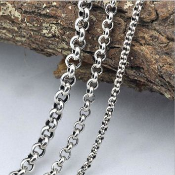 100% Real 925 Sterling Silver Necklace pendant Thick long Chain
