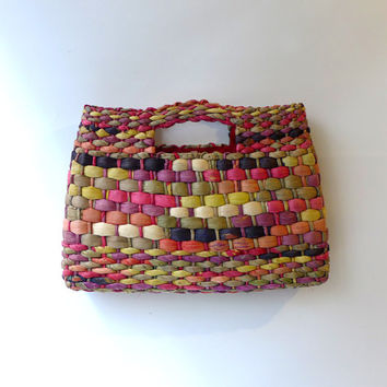 Vintage 1980s colourful Italian woven raffia handbag purse