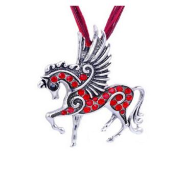 Mix Color Crystal Pegasus Fly Horse Pendant Necklace With Ribbon Rope