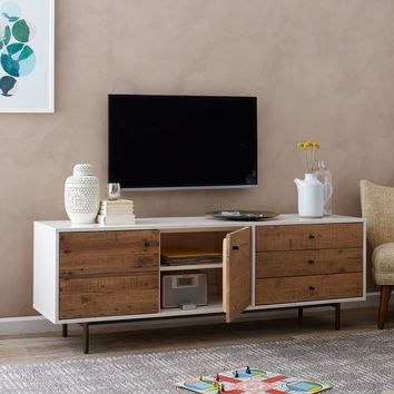 RECLAIMED WOOD + LACQUER MEDIA CONSOLE - LONG