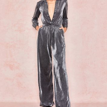 Spring and summer new dress bright silk high collar jumpsuit long sleeve loose jumpsuit