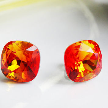 Red Orange Earrings - Cushion Cut Earrings Swarovski Crystal Post Earrings - Square earrings - Fire Opal Earrings