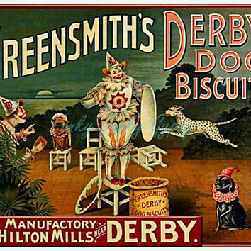 Vintage Dog Buscuits Ad / Advertising / Advertisement: Greensmiths Derby Dog Buscuits ~ Circus Dogs and Clown