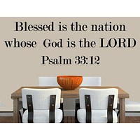 Psalm 33:12 Bible Verse Wall Decal, Vinyl Wall Word Art