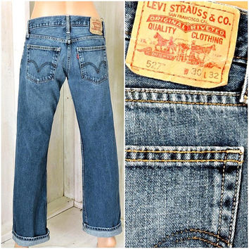 Vintage Levis 527 jeans 30 X 32 / size 7 / 8 / 90s LEVI'S  / dark wash / mid rise / faded / Levi Strauss 527s bootcut  jeans / mens / womans
