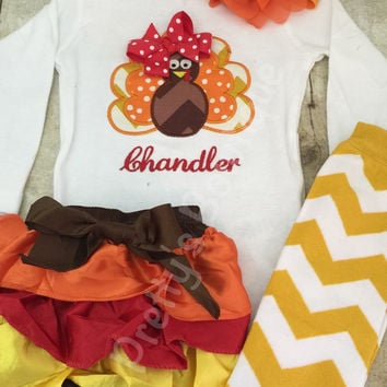 Thanksgiving Outfit Baby Girl – Turkey Embroidered Bodysuit, Bloomer, Headband & Legwarmers Set Personalized with Name