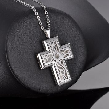 Cross Locket Aromatherapy Diffuser Pendant Necklace Jewelry