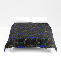 Smell The Flowers Unicorn Duvet Cover by thatssounicorny