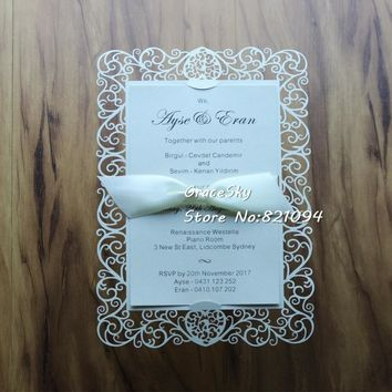 30pcs NEW laser cut flower love heart design paper Save The Date RSVP wedding invitation cards  without ribbon
