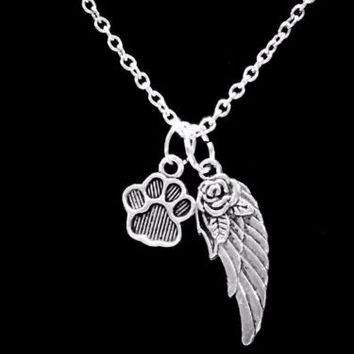 Paw Print Dog Lover Guardian Angel Wing In Memory Heaven Charm Necklace