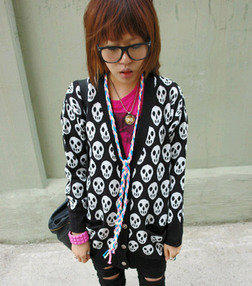 AsiaJam.com Fashion Boutique | Full of Skulls Knit Cardigan