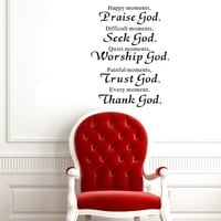 "23"" X 27"" Happy Moments ,Praise God. Difficult Moments, Seek God. Quiet Moments, Worship God. Painful Moments, Trust God. Every Moment, Thank God Sign Wall Art Decal Sticker Home Room Decor Religious Wall Quotes Saying"