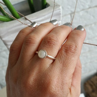 Rainbow Moonstone Ring, Moonstone ring, silver Ring, Stackable silver rings, Gemstone Ring, June Birthstone, simple Ring, gift for her
