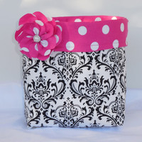 Large Black and White Damask Fabric Basket With Detachable Flower Pin