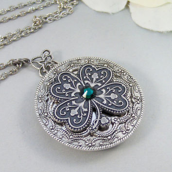 Irish Shamrock,Locket,Shamrock,Antique Locket,Silver Locket,Clover,Luck,Irish,Lucky, Shamrock,Love. Handmade jewelry by valleygirldesigns