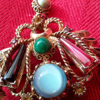 Pin, Vintage Brooch, 'Exquisite' Multi Glass Pin, English Glass Broach. Retro Chic 1950s'