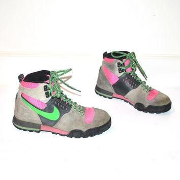NIKE hiking boots vintage 80s NEON high top ATHLETIC runners sneakers