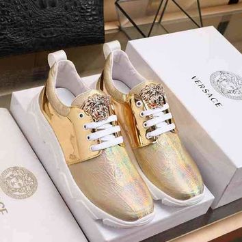 Versace Man Casual Fashion Men Sneakers Sports Shoes Gold