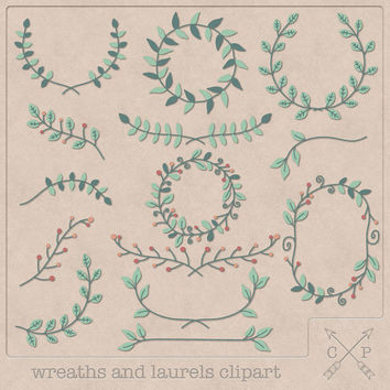 Hand drawn frames garland laurels wreaths digital Clipart (set of 14) red orange green mint pink Color clipart scrapbooking wedding invites