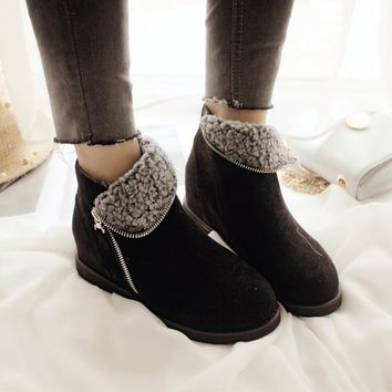 Autumn England Style Zippers Ankle Flat Height Increase Wedge Boots [9432941578]