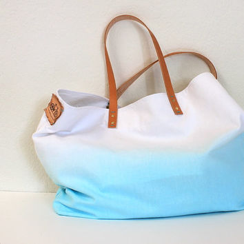TOTE BAG...Aquamarine (with leather strap)....large size (featured on Etsy front page)