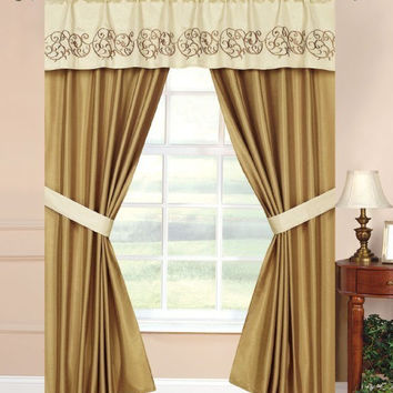 "5pc -42x84"" Vana Window Curtain Drape Beige/Gold"
