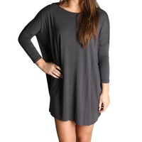 Dark Gray Piko 3/4 Sleeve Tunic