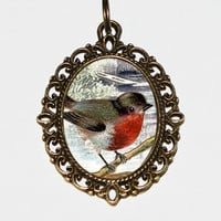 Robin Necklace, Bird Jewelry, Robins, Robin Jewelry, Oval Pendant