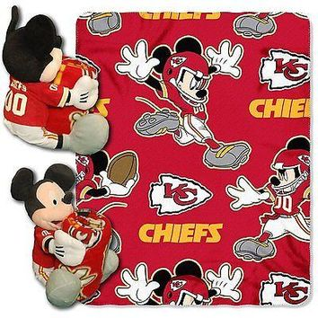 Kansas City Chiefs NFL Mickey Mouse Throw and Hugger Pillow Set