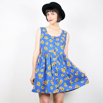 Vintage Sunflower Dress Mini Dress 1990s Dress Babydoll Dress Soft Grunge Dress 90s Dress Cobalt Blue Yellow Sunflowers Sundress  M L Large