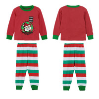 Long Sleeve Santa Claus Patchwork Stripe Pants Baby Suit