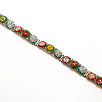 Vintage Italian Mosaic Floral Design Panel Bracelet Colorful Glass Tesserae  Set In Silver Tone