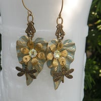 Patina Botanical Leave Earrings - Dragonfly Gold Jewelry - Swarovski Jewelry- Fall Jewelry- Autumn - Tamikaalceedesigns