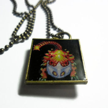 Zelda video game necklace Hemasaur pendant on ball chain -  FREE size adjustments - A link to the Past - geek jewelry - super nintendo