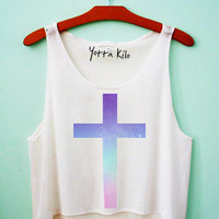Creamy Galaxy Cross Crop Tank Top