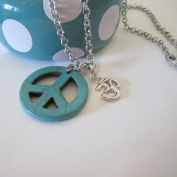Peace Sign and Om Necklace by 636designs on Etsy