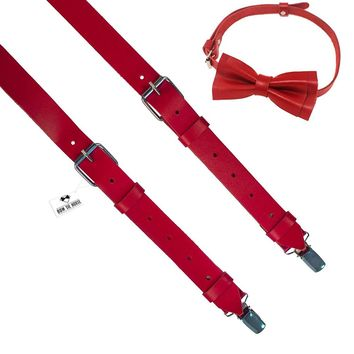 Red Leather Suspenders with Bow Tie