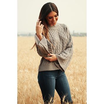In The Rhythm Cable Knit Sweater (Pearl Grey)