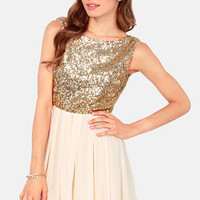 Gleam a Little Gleam Cream and Gold Sequin Dress