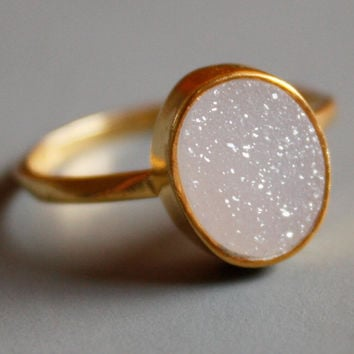 White Druzy Ring - Oval Shaped Ring - Natural Geode Ring