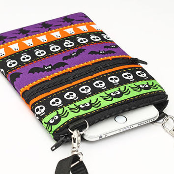 Cell Phone Purse, Cross Body Bag for Passport, iPhone 6 Plus , Samsung Galaxy S4 - Halloween bats, spiders, skulls, witches, ghosts, pumpkin