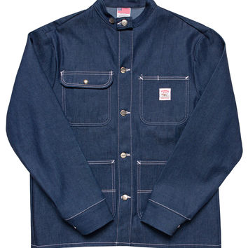 Indigo Denim Chore Coat - Raw - Cone White Oak - Banded Collar