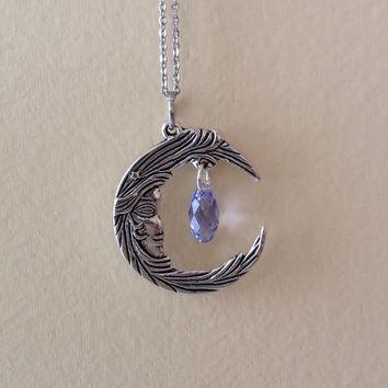 Moon and swarovski crystal necklace, woman in the moon, choice of crystal colors, silver moon and crystal