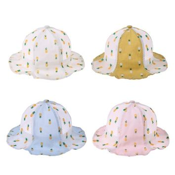 Summer Baby Girls Sun Hat Cotton Cartoon Baby Hat Kids Child Cap pineapple Flower Bucket Hat Beach Bucket Panama Cute Cap Hat