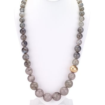 Graduated Beaded Necklace in Gray Hues
