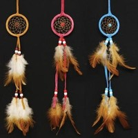 Miniature Dreamcatcher Pastel Color, Beads & Feathers (1-pc Random Color)