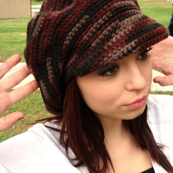 Newsboy Hat With Visor Crochet Newsgirl From Gabysschaufenster